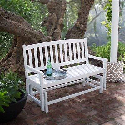 4-Ft Patio Glider Chair Loveseat Bench in White Wood - YourGardenStop