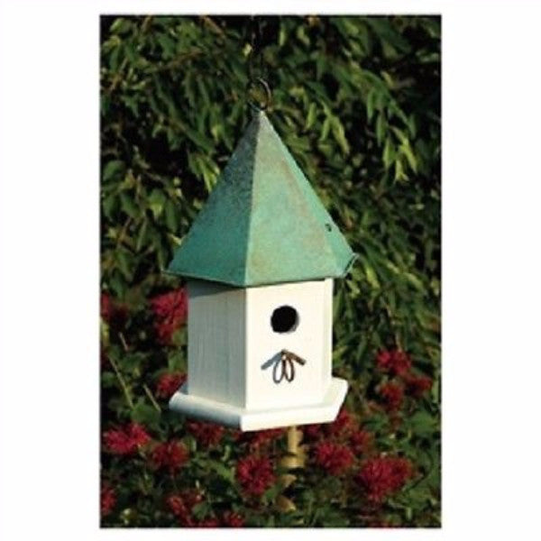White Wood Bird House with Verdi Green Copper Roof - YourGardenStop
