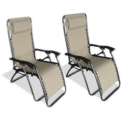 Set of 2 - Zero Gravity Indoor/Outdoor Chairs in Beige - YourGardenStop
