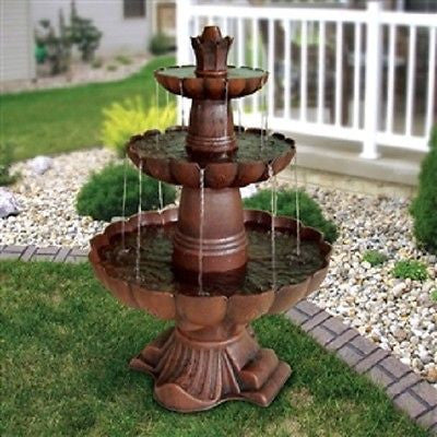 3-Tier Outdoor Garden Fountain in Bronze Color - YourGardenStop