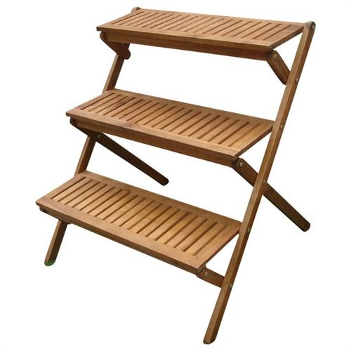 3-Tier Planter Stand in Eucalyptus Wood for Outdoor/Indoor Use - YourGardenStop