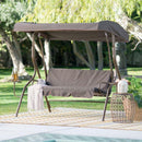 2-Person Porch Swing with Adjustable Tilt Canopy and Side Table - YourGardenStop