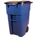 50 Gallon Blue Commercial Heavy Duty Rollout Trash Can WasteUtility Container - YourGardenStop