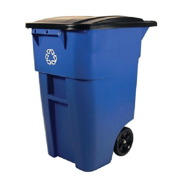 50 Gallon Blue Commercial Heavy Duty Rollout Recycler Trash Can Container - YourGardenStop
