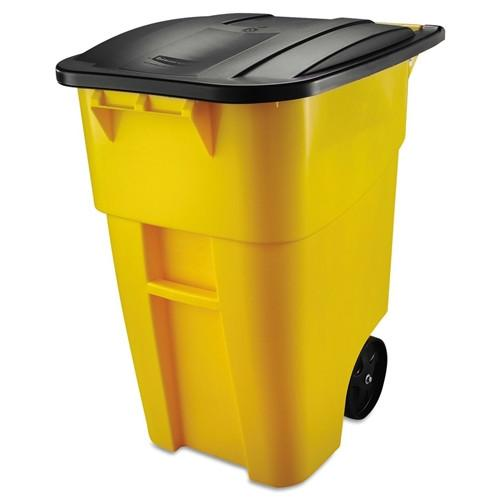 50 Gallon Yellow Commercial Heavy Duty Rollout Trash Can WasteUtility Container - YourGardenStop