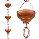 Pure Copper 8.5 Ft Rain Chain with 13 Hammered Funnel Shape Cups - YourGardenStop