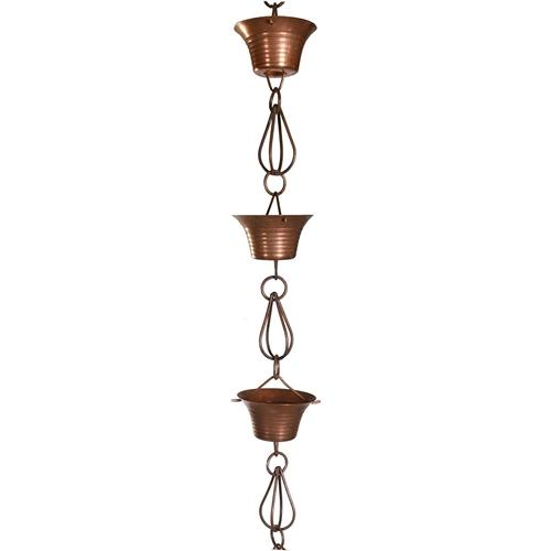 Pure Copper 8.5' Rain Chain w/10 Round Cups & Teardrop Chain-Links - YourGardenStop