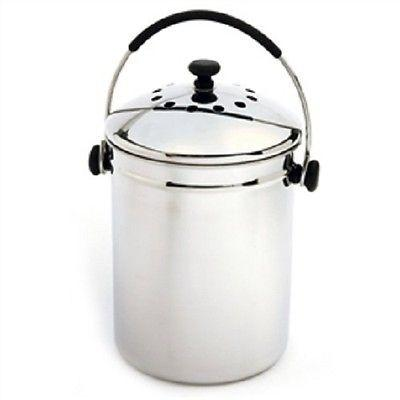 Stainless Steel Kitchen Compost Bin w/Charcoal Filter - YourGardenStop