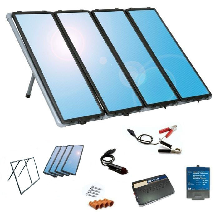 60W Solar Panel Charging Kit w/ Controller & Inverter - YourGardenStop