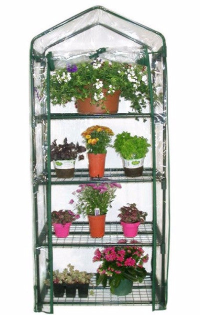 4-Tier Growing Rack Planter Stand Greenhouse with Steel Frame - YourGardenStop