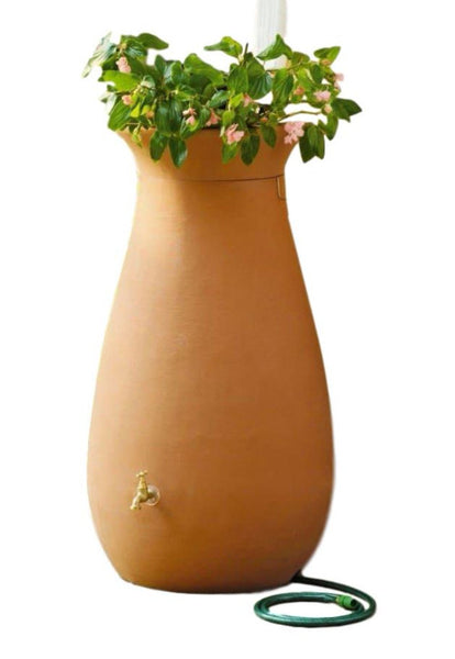 65 Gallon Urn Style Rain Barrel in Terra Cotta - YourGardenStop