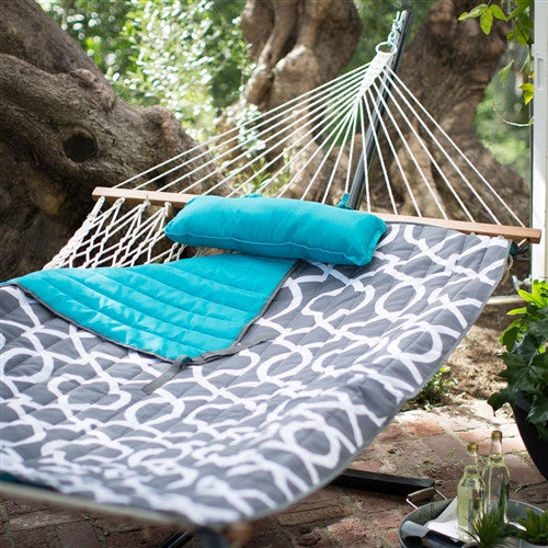 XL 13-Ft Cotton Hammock with Bronze Metal Stand - YourGardenStop