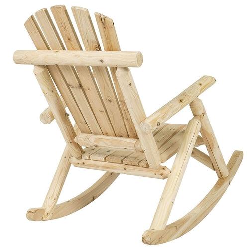 Outdoor Wooden Log Rocking Chair - Adirondack Style - YourGardenStop