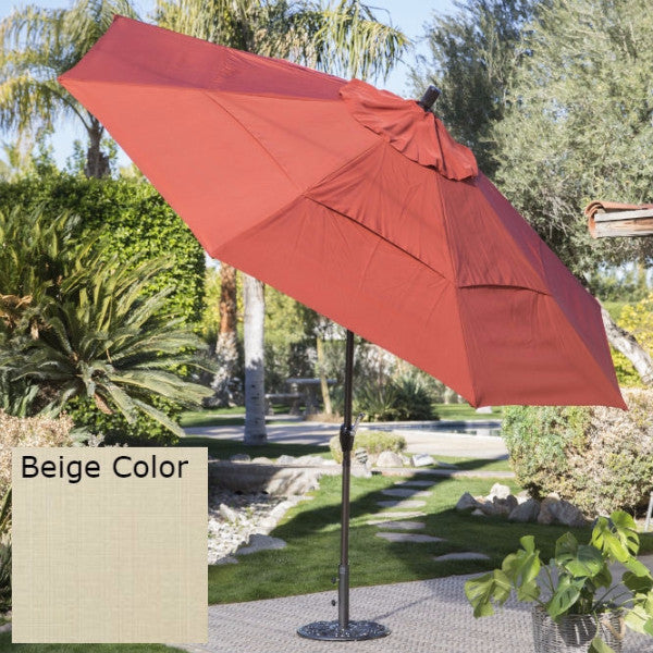 Outdoor Patio 11 Ft Market Umbrella with Push Button Tilt with Beige Shade - YourGardenStop
