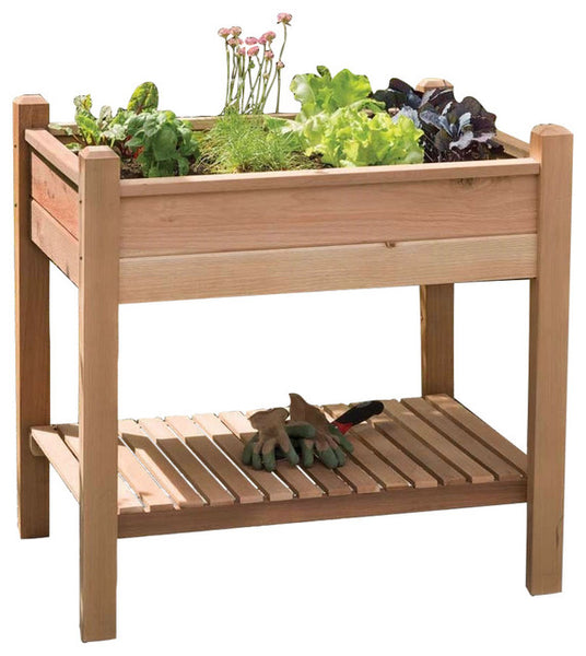 Elevated Garden Bed Planter Box in Unstained Western Red Cedar - YourGardenStop