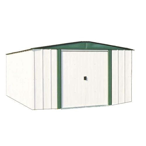 6'x8' Steel Storage Shed w/Sliding Doors in White Eggshell & Green - YourGardenStop