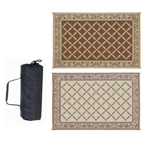 9 x 12 Foot Reversible Patio Garden Mat in Brown Beige - YourGardenStop