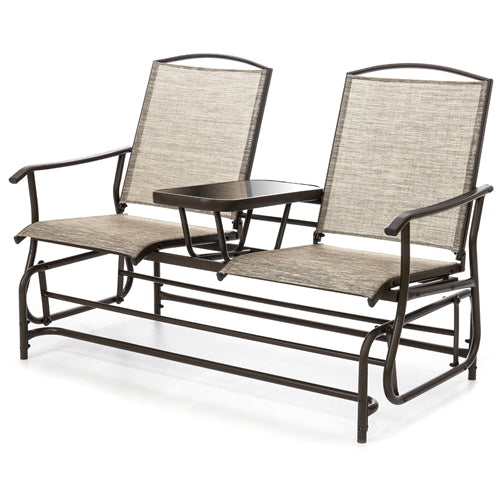Brown 2-Seater Mesh Double Glider Tempered Glass Attached Center Table - YourGardenStop