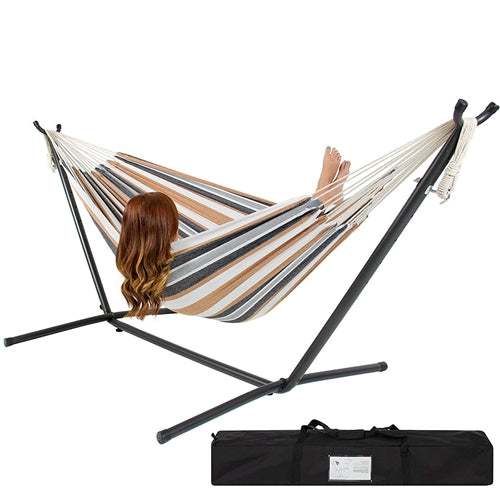 Portable Cotton Hammock in Desert Strip with Metal Stand & Carry Case - YourGardenStop