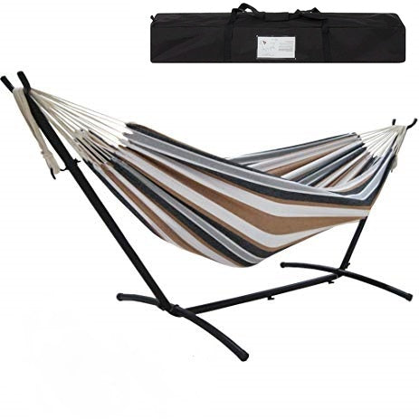 Portable Cotton Hammock in Desert Strip with Metal Stand & Carry Case