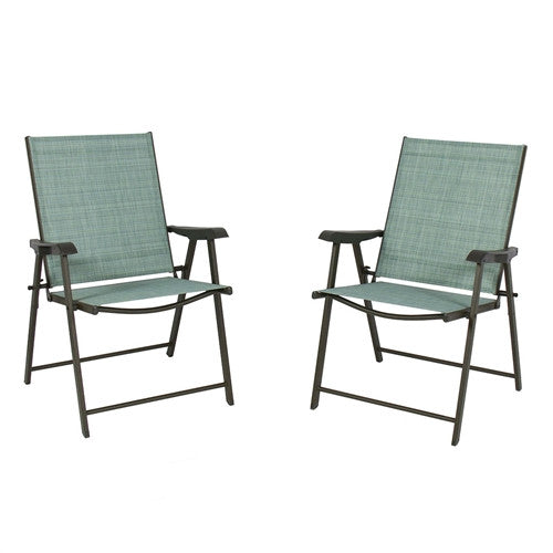 Set of 2 Sling Back Folding Outdoor Patio Bistro Chairs Aqua - YourGardenStop