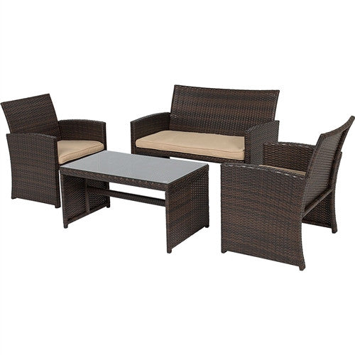 Brown Resin Wicker 4-Piece Patio Furniture Set w/Beige Padded Cushions