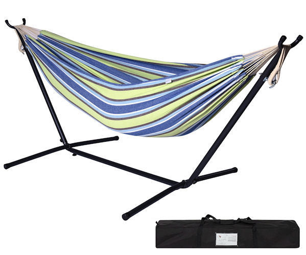 Portable Blue Green Stripe Cotton Hammock with Metal Stand Carry Case