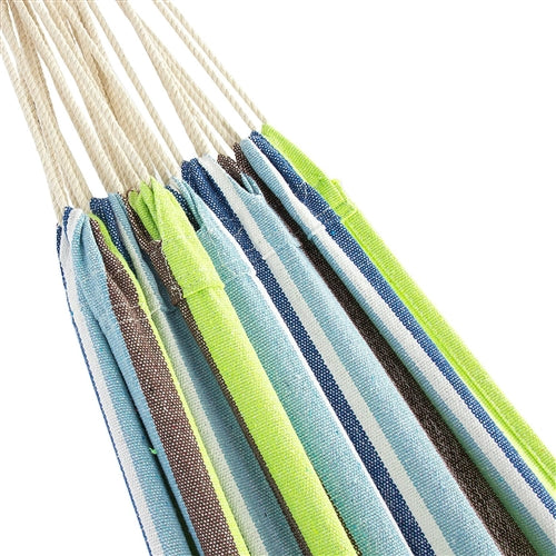Portable Blue Green Stripe Cotton Hammock with Metal Stand Carry Case - YourGardenStop
