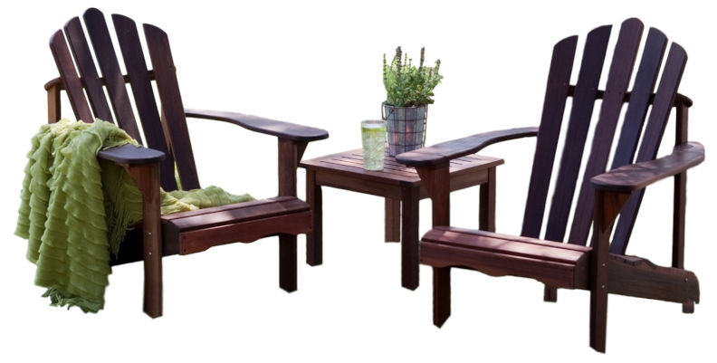 3 Piece Patio Furniture Set 2 Adirondack Chairs and Side Table - YourGardenStop