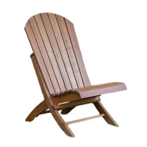 Outdoor Patio Armless Hardwood Adirondack Chair with Brown Wood Stain - YourGardenStop