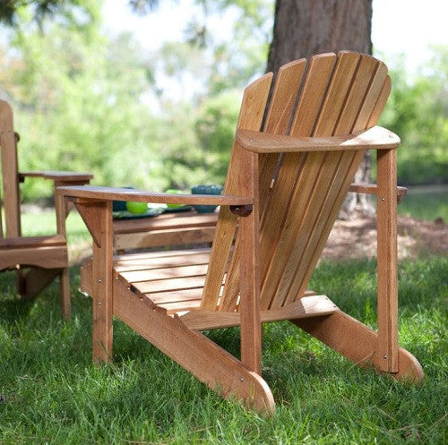 3-Piece Patio Set 2 Oak Adirondack Chairs & Side Table - YourGardenStop