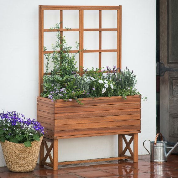Modern Solid Wood Elevated Planter Box with Trellis - YourGardenStop