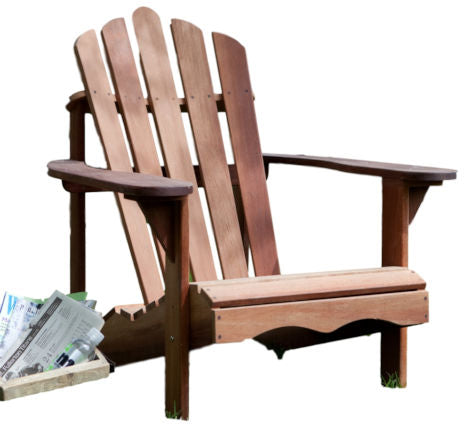 Ergonomic Outdoor Patio Adirondack Chair in Red Shorea Wood - YourGardenStop