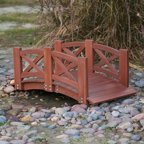 Red Stained Wood 4-Ft Garden Bridge w/X-Design Hand Rails - YourGardenStop