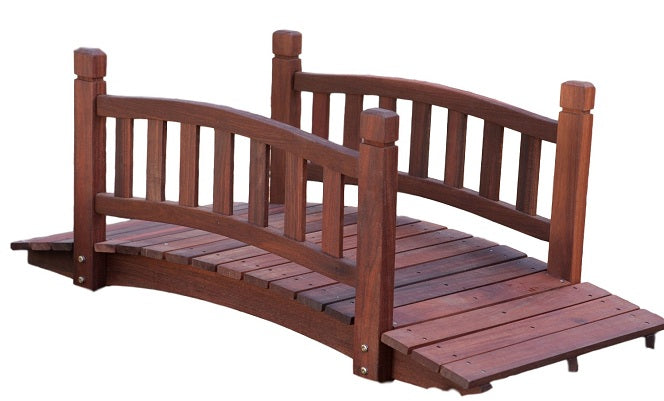 4 Ft Garden Bridge in Red Shorea Wood with Protective Oil Finish - YourGardenStop