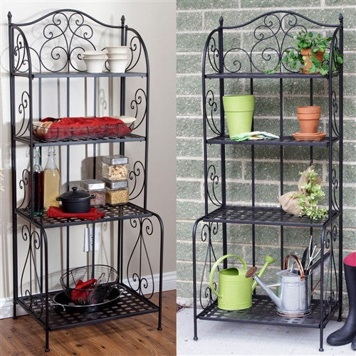 Outdoor / Indoor Metal Bakers Rack Potting Bench Garden Shelving