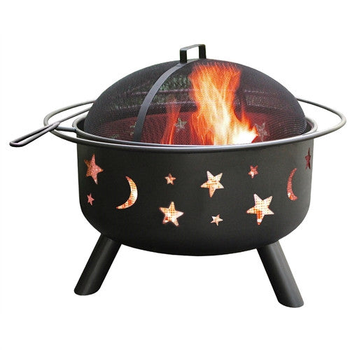 Stars Moon Sky Black Steel Fire Pit Bowl with Screen Cooking Grate and Poker - YourGardenStop