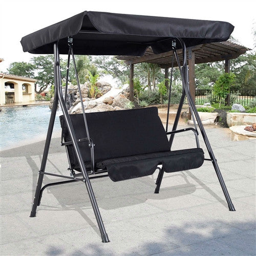 Black 2-Person Loveseat Outdoor Patio Porch Canopy Swing - YourGardenStop