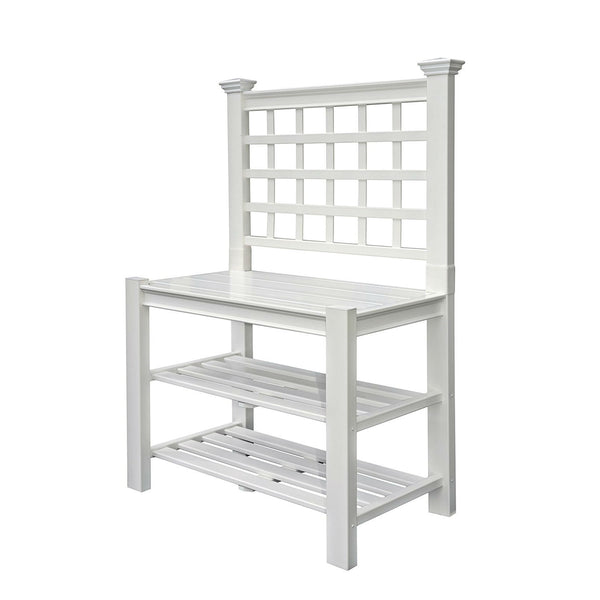 White Vinyl Outdoor Garden Classic Potting Bench with Shelves - YourGardenStop