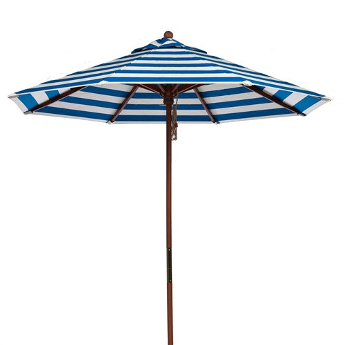 9-Ft Blue & White Stripe Market Umbrella with Wood Pole