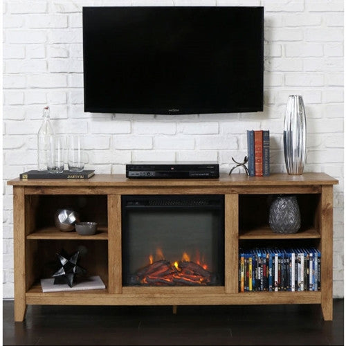 Barnwood 2-in-1 Electric Fireplace Space Heater & 58-inch TV Stand - YourGardenStop