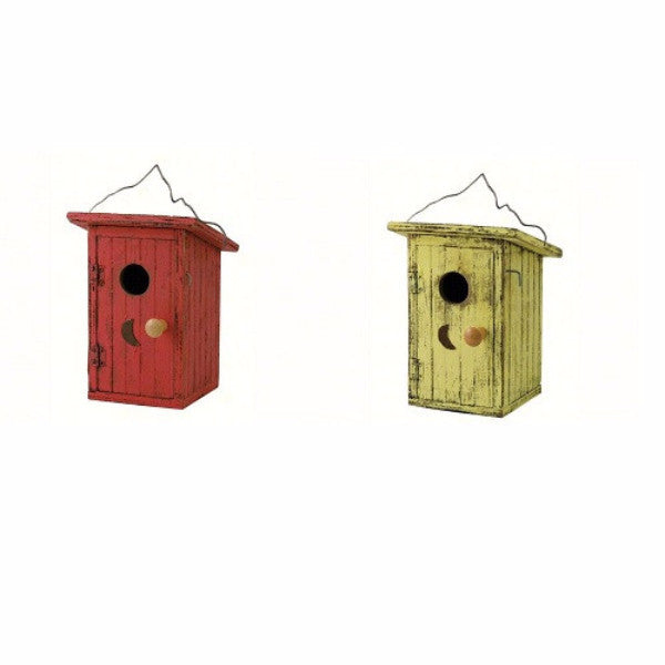Birdie Loo Birdhouse in Red or Yellow - YourGardenStop