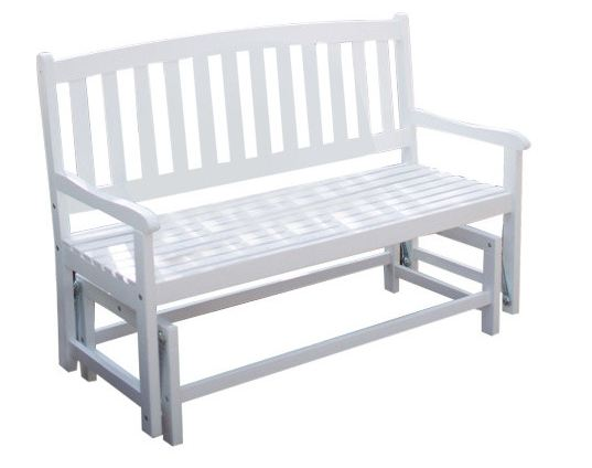 4-Ft Patio Garden Glider Bench Loveseat in White Wood - YourGardenStop