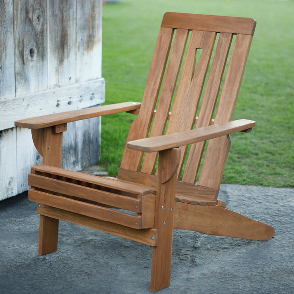 Outdoor Hardwood Square-Back Adirondack Chair with Oversized Contoured Seat - YourGardenStop