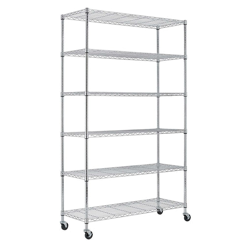 Heavy Duty 6-Shelf Metal Storage Rack Shelving Unit with Casters - YourGardenStop