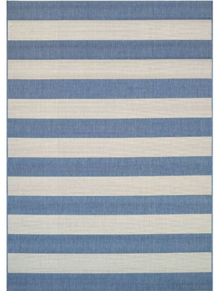 2 x 37 Ivory Blue Stripe Outdoor Indoor Rug - YourGardenStop