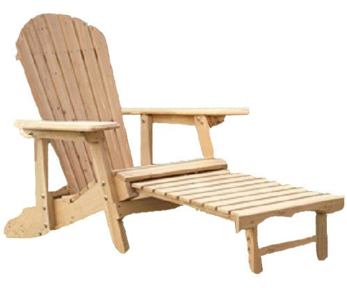 Reclining Adirondack Chair with Pull-out Ottoman in Natural Fir Wood - YourGardenStop