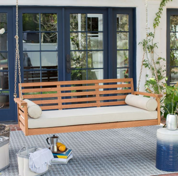 Deep Seat Wood Porch Swing with Cushion and 2 Bolster Pillows - YourGardenStop
