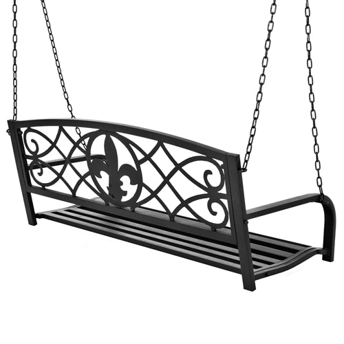 Farmhouse Black Sturdy 2 Seat Porch Swing Bench Scroll Accents - YourGardenStop