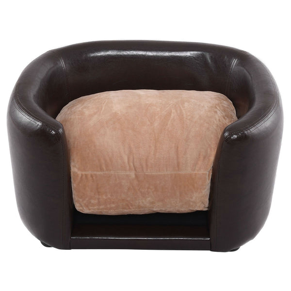 Soft Espresso Mini Couch Bed with Beige Cushion Small Dog or Cat - YourGardenStop
